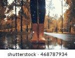 feet in rubber boots rain...   Shutterstock . vector #468787934