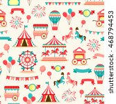 seamless pattern with vintage... | Shutterstock . vector #468794453