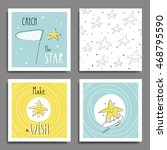 set of 6 cute creative cards... | Shutterstock .eps vector #468795590