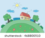 children's drawing a vacation... | Shutterstock .eps vector #468800510