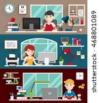 students boys and girl sitting... | Shutterstock .eps vector #468801089