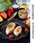 tasty grilled chicken fillet... | Shutterstock . vector #468802580