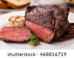 entrecote with grilled garlic... | Shutterstock . vector #468816719