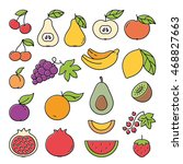 fruits colorful outline black... | Shutterstock .eps vector #468827663