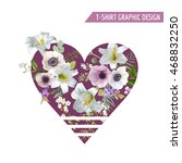 vintage colorful flowers... | Shutterstock .eps vector #468832250
