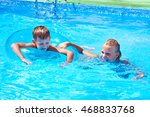 girl and boy swimming into a... | Shutterstock . vector #468833768