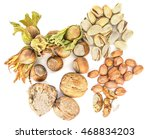 different nuts on a white...   Shutterstock . vector #468834203