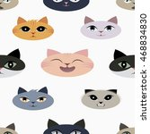funny cats pattern vector... | Shutterstock .eps vector #468834830