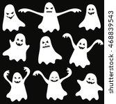 set of halloween funny ghosts | Shutterstock .eps vector #468839543