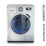 modern clothes washer on white...   Shutterstock . vector #468840728