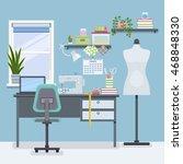 workplace for freelancer... | Shutterstock .eps vector #468848330