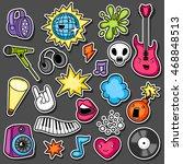 music party kawaii sticker set. ... | Shutterstock .eps vector #468848513