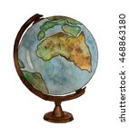 globe hand painted watercolor.... | Shutterstock . vector #468863180