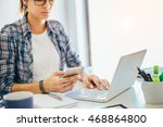 young businesswoman using smart ... | Shutterstock . vector #468864800