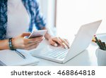 young businesswoman using smart ... | Shutterstock . vector #468864818