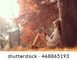 beautiful young brunette... | Shutterstock . vector #468865193