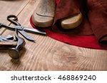 set of leather craft tools on... | Shutterstock . vector #468869240