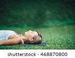 girl doing yoga  meditating ... | Shutterstock . vector #468870800