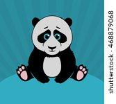 panda sitting flat vector... | Shutterstock .eps vector #468879068