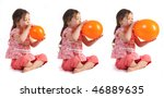 A Little Girl Blowing Up A...