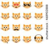 cute cat faces set | Shutterstock .eps vector #468902888