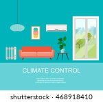 smart house with  climate... | Shutterstock .eps vector #468918410