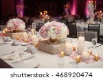 square dinner table served with ... | Shutterstock . vector #468920474
