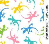 lizards. vector seamless... | Shutterstock .eps vector #468923888