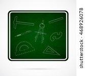 vector school elements on green ...