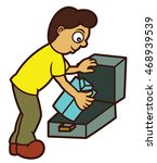 man packing clothes cartoon | Shutterstock .eps vector #468939539