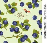 vector blueberry tea seamless...   Shutterstock .eps vector #468943556