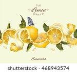 vector lemon seamless... | Shutterstock .eps vector #468943574