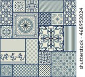 seamless patchwork tile with...   Shutterstock .eps vector #468953024