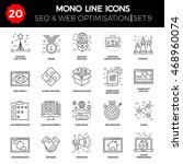 thin line icons set of search... | Shutterstock . vector #468960074
