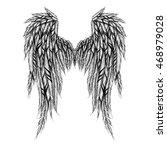 textured detailed wings. raster. | Shutterstock . vector #468979028