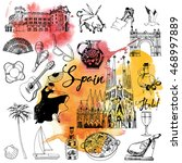 spain. hand drawing vector set... | Shutterstock .eps vector #468997889