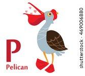 pelican for p letter. an... | Shutterstock .eps vector #469006880