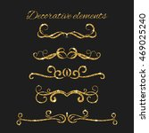 text dividers set with gold.... | Shutterstock .eps vector #469025240
