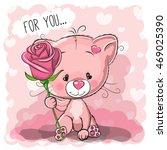 greeting card cute cartoon cat... | Shutterstock .eps vector #469025390