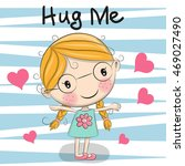greeting card girl with hearts... | Shutterstock .eps vector #469027490