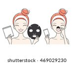 young woman with facial  nose... | Shutterstock .eps vector #469029230