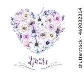 watercolor vintage rose floral... | Shutterstock . vector #469032314