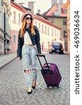 beautiful tourist woman... | Shutterstock . vector #469036634