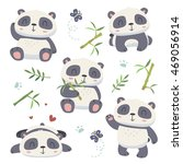 vector cartoon style cute panda ... | Shutterstock .eps vector #469056914