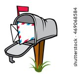 house mailbox on a post with... | Shutterstock .eps vector #469068584