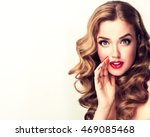 beautiful girl with bright... | Shutterstock . vector #469085468