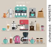 coffee set   flat style. vector ... | Shutterstock .eps vector #469098578