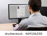 man working on his cv in office ... | Shutterstock . vector #469106330