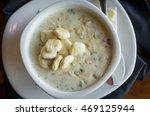 creamy new england clam chowder ... | Shutterstock . vector #469125944