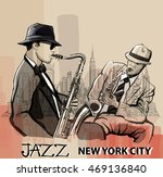 two jazz saxophonist playing in ...   Shutterstock .eps vector #469136840